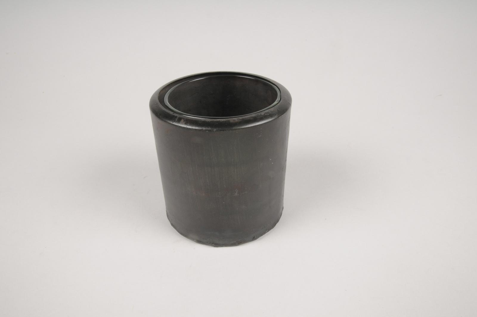 A013A0 Cache-pot en métal avec pot en verre D10cm H10cm