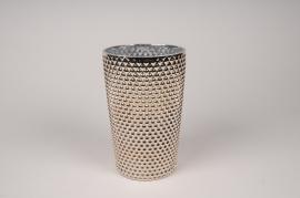 A013A3 Vase verre or D13cm H20cm