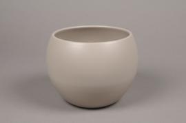 A013A8 Cache-pot céramique boule gris D16cm H15cm