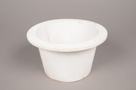 A013AV White wooden pot D15cm H11cm