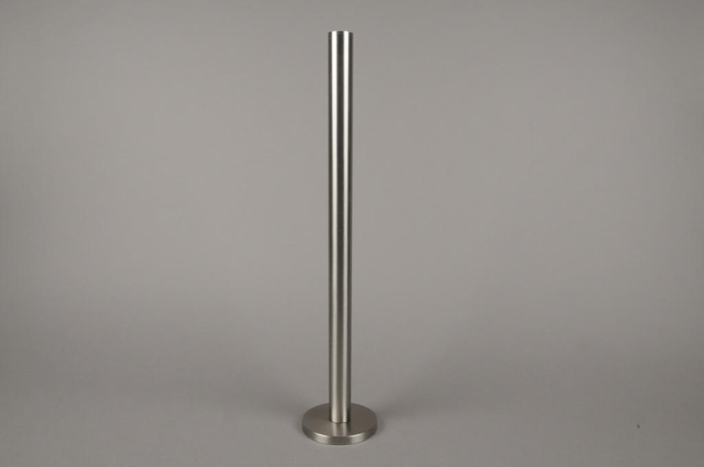 A013E0 Bougeoir métal argent H51.5cm