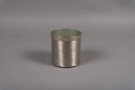 A013E5 Pot en métal brossé argent D13cm H13.5cm
