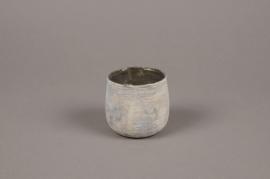 A013G2 Grey glass candle jar D7cm H7cm