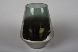 A013KI Smoked glass vase silver and green D22cm H26.5cm
