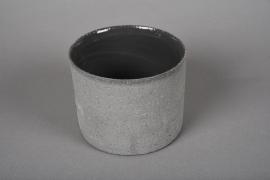 A013N8 Cache-pot en terre cuite gris D12cm H10cm