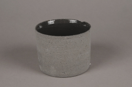 A013N8 Cache-pot en terre cuite gris D13cm H10cm