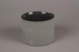 A013N8 Grey terracotta planter D13cm H10cm