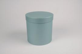 A013O1 Set de 3 boîtes en carton bleu D17cm H18cm