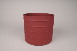 A013U9 Cache-pot en métal rouge D20.5cm H18cm
