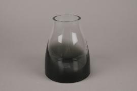 A013W3 Black smoked glass vase D15cm H18cm
