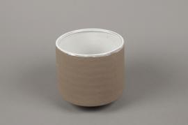 A013W5 Cache-pot en grès taupe D12cm H13.5cm