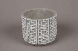 A013Y8 Cache-pot en béton gris et blanc D14cm H12cm