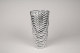 A014A3 Vase verre argent D14cm H27cm