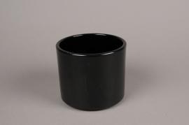 A014A8 Black ceramic planter D15cm H13cm