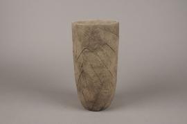 A014AC Vase en béton feuillage brun D14cm H29cm