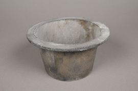 A014AV Grey wooden pot D15cm H11cm