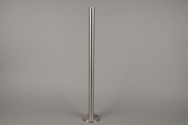 A014E0 Silver metal candle holder H71cm