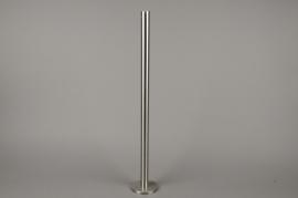 A014E0 Bougeoir métal argent H71cm