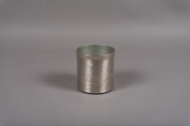 A014E5 Silver brushed metal vase D12cm H12.5cm