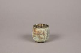 A014G2 Oxidized bronze glass candle jar D7cm H7cm