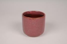 A014J6 Cache-pot en céramique rouge D9cm H10cm
