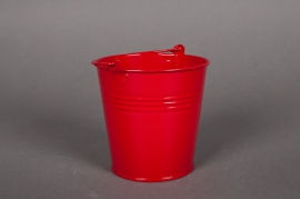 A014KM Bucket zinc red D16cm H14cm