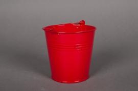 A014KM Bucket zinc red D16cm H14cm