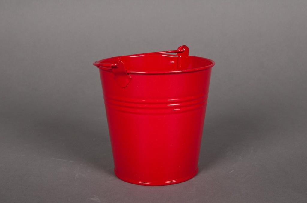 A014KM Seau en zinc rouge D16 H14cm