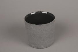 A014N8 Grey terracotta planter D14cm H13cm