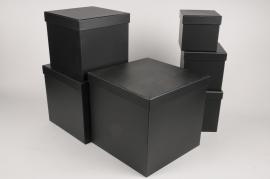 A014O1 Set de 6 boîtes en carton noir 28x28cm H28cm