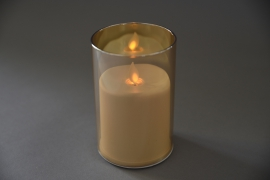 A014O7 Amber glass tealight Led candle D8cm H13cm