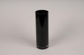 A014PS Vase cylindre en verre noir D10cm H30cm