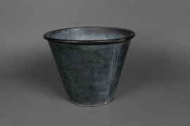 A014Q4 Natural zinc bucket with edge D18 H14cm