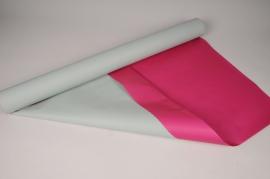 A014QX Kraft paper roll pink /sea green 0,8x50m