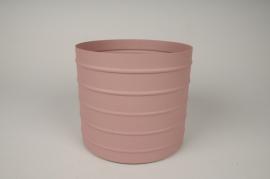 A014U9 Cache-pot en métal rose D20.5cm H18cm