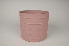 A014U9 Pink metal planter D20.5cm H18cm
