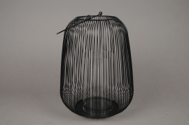 A014UO Photophore en métal noir D25cm H29.5cm