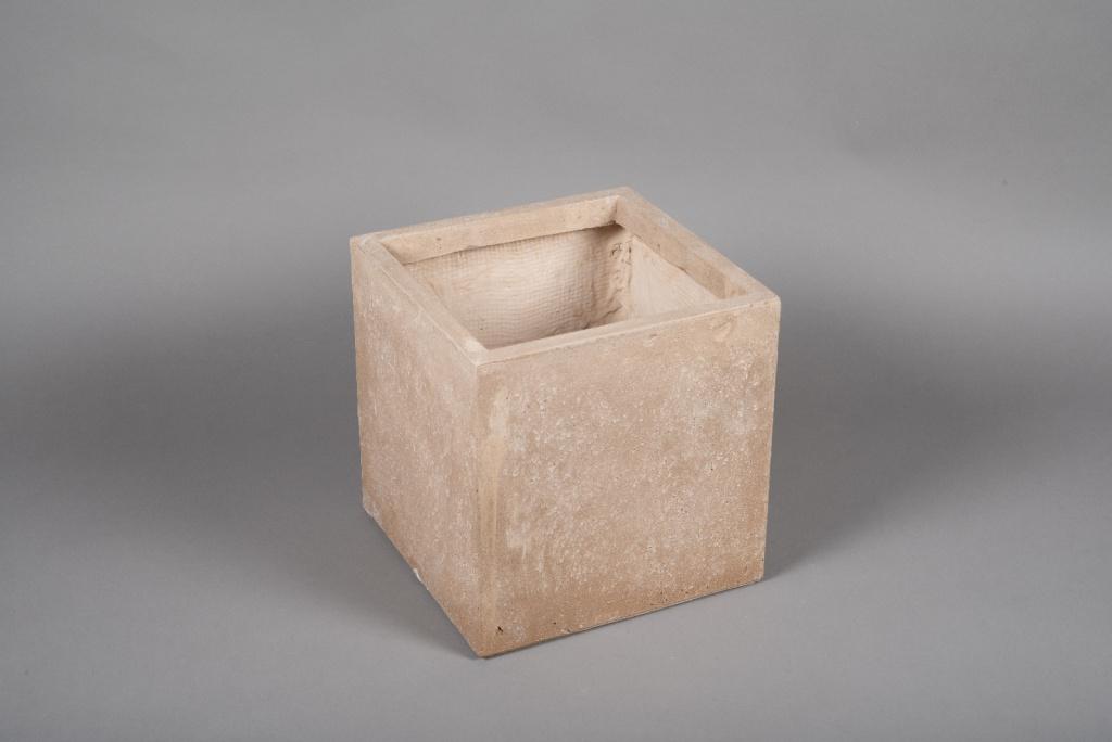 A014VV Pot fibre sable 30x30cm H30cm