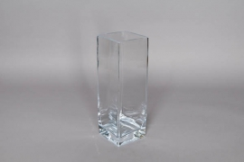 A014W3 Glass vase square 10x10cm H30cm