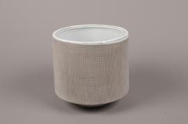 A014W5 Cache-pot en grès gris D15.5cm H17cm