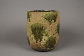 A014ZH Green ceramic planter D23cm H20cm