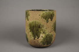 A014ZH Green ceramic planter D23cm H20cm