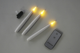 A015A1 Box of 10 white torch candles LED H15cm