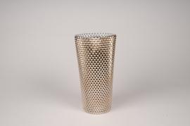 A015A3 Vase verre or D14cm H27cm