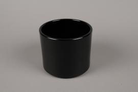 A015A8 Cache-pot en céramique noir D17.5cm H14cm
