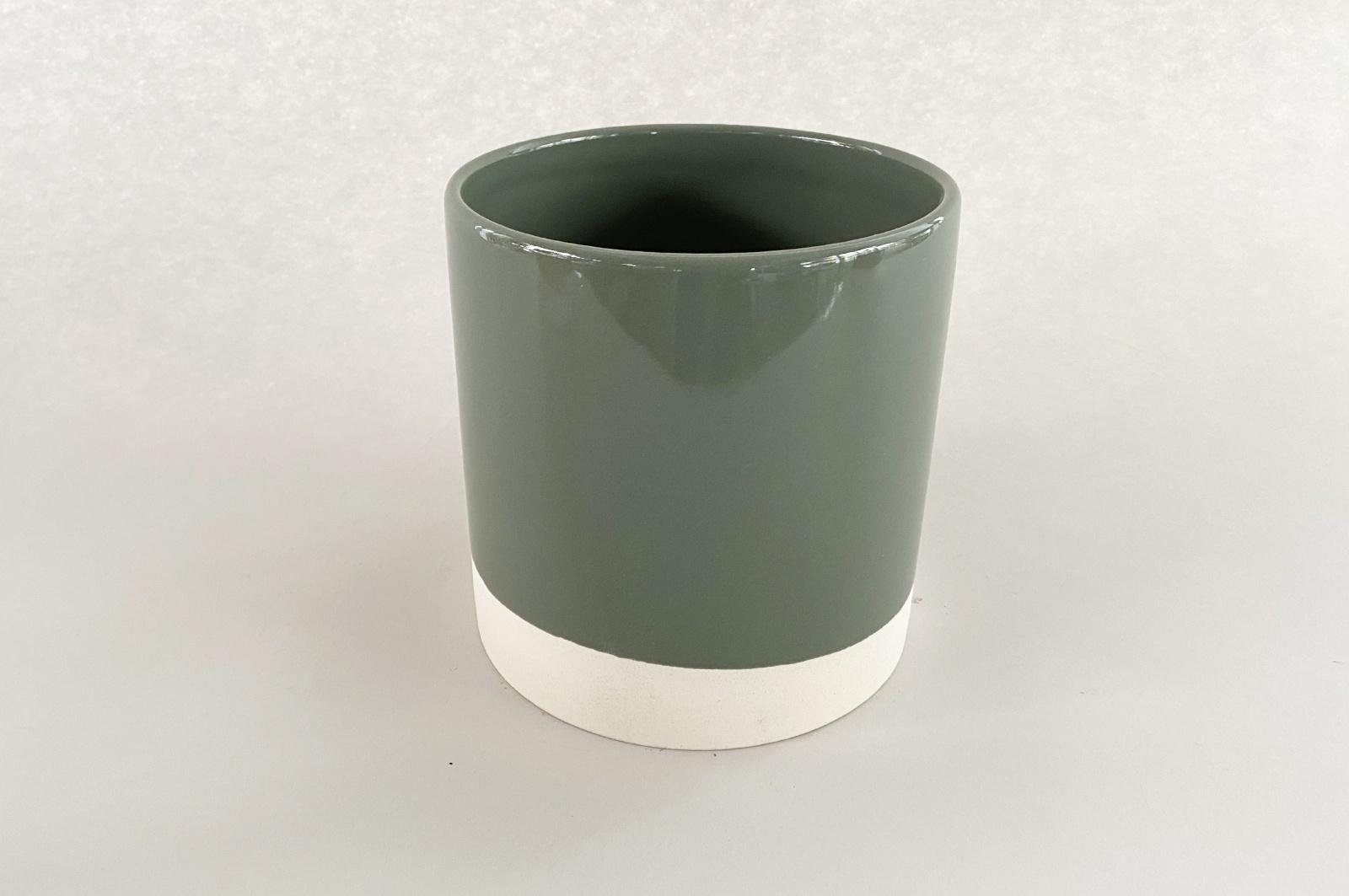A015AA Cache-pot en céramique kaki D11cm H11.5cm