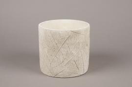 A015AC Cache-pot en béton feuillage blanc D17cm H16cm