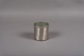 A015E5 Pot en métal brossé argent D10.5cm H10.5cm