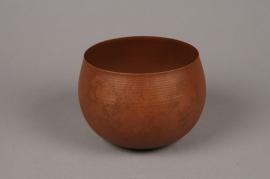 A015JY Cache-pot en métal rouille D16.5cm H11.5cm