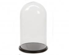 A015KI Cloche verre plateau bois noir D35cm H62cm